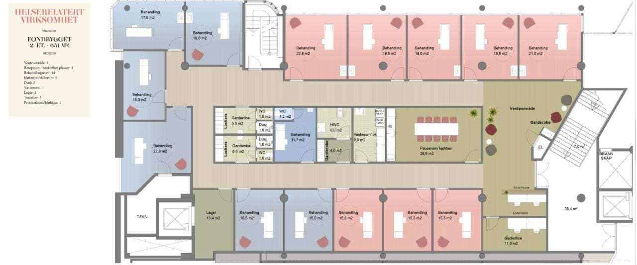 651 m2 i 2. etasje - her innredet for helserelatert virksomhet