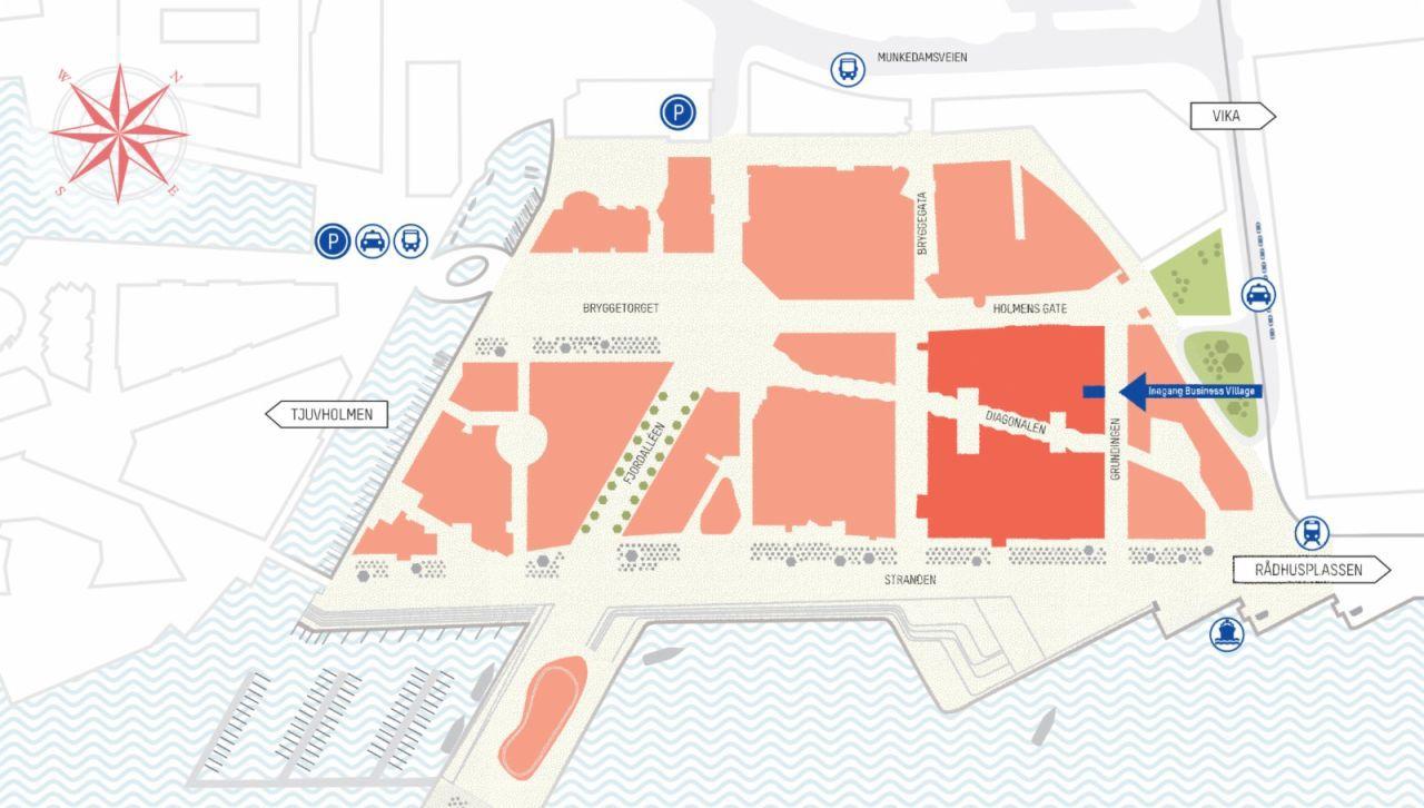 Midt på Aker Brygge ligger Business Village kontorfellesskap