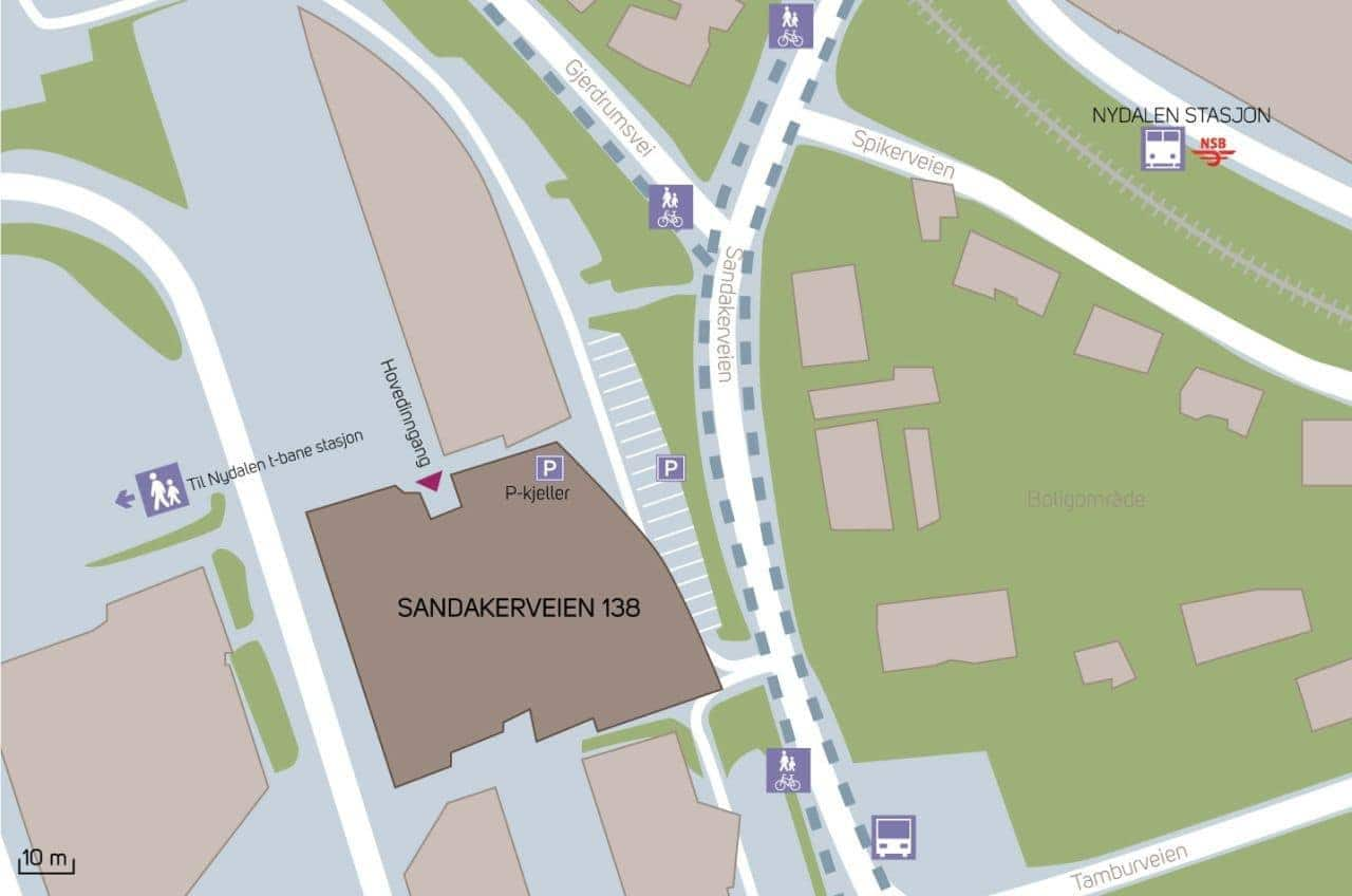 Sandakerveien 138 ligger sentralt i Nydalen