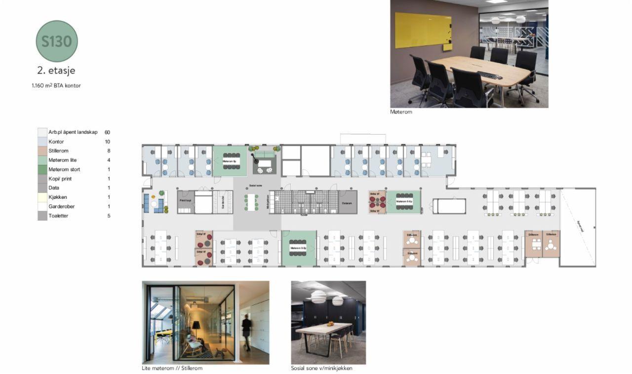 2. etasje - 1.160 m2 kontor