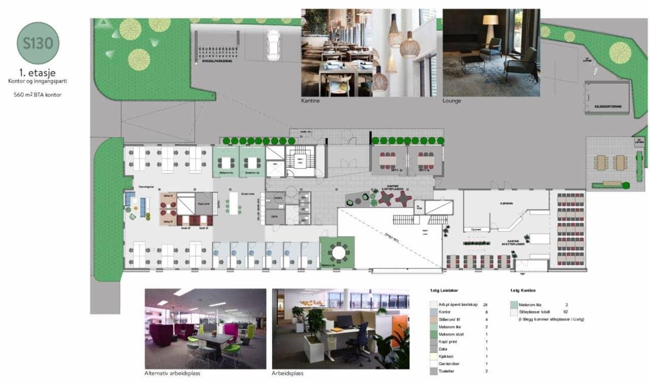 1. etasje - 560 m2 kontor