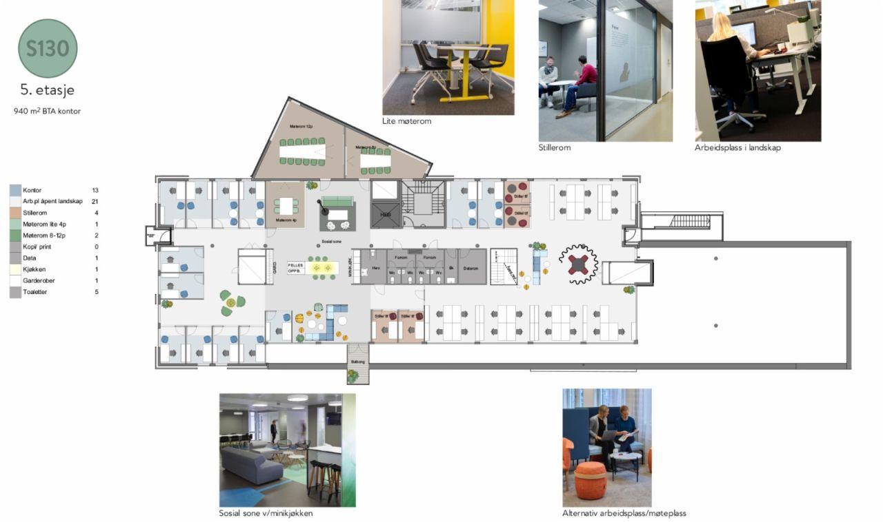 5. etasje - 940 m2 kontor